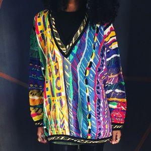 Coogi Vintage V Neck Colorful Sweater